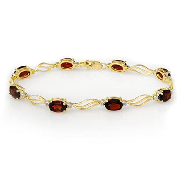 8.02 ctw Garnet & Diamond Bracelet Solid 10k Yellow Gold - REF-27W3H