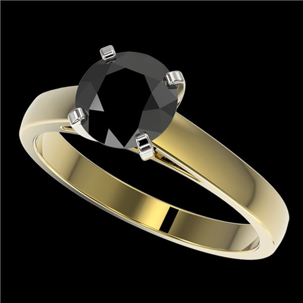 1.50 ctw Fancy Black Diamond Solitaire Engagment Ring 10k Yellow Gold - REF-35A6N