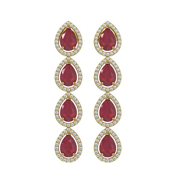 10.2 ctw Ruby & Diamond Micro Pave Halo Earrings 10k Yellow Gold - REF-155X5A