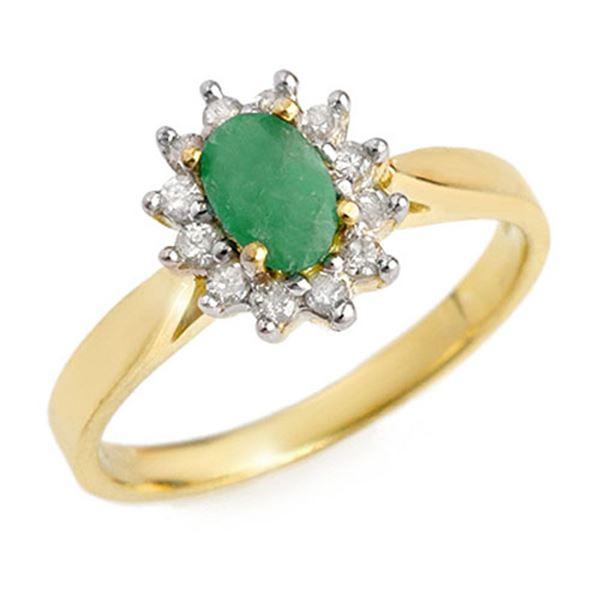 0.51 ctw Emerald & Diamond Ring 10k Yellow Gold - REF-13W5H