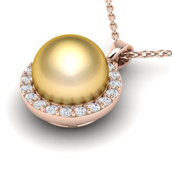 0.25 ctw Micro Pave Diamond & Golden Pearl Necklace 14k Rose Gold - REF-25K4Y