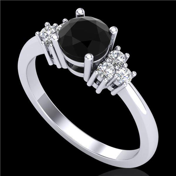 1 ctw Fancy Black Diamond Engagment Ring 18k White Gold - REF-49Y3X