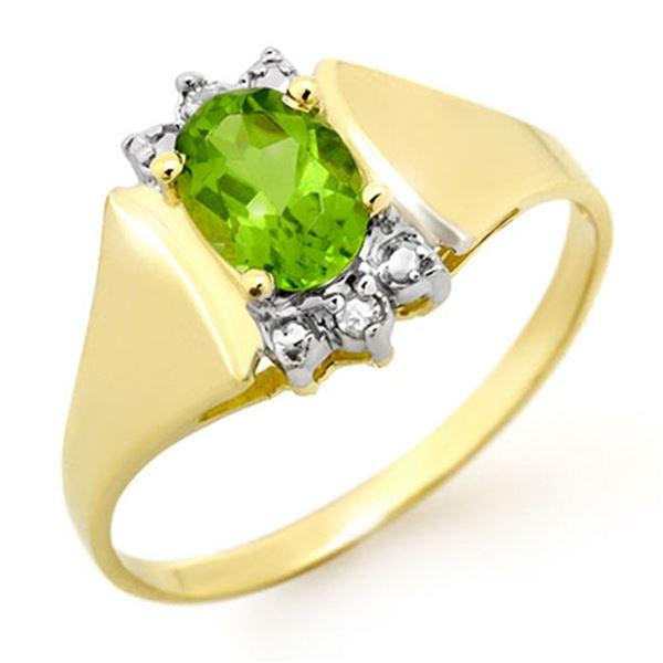 1.28 ctw Peridot & Diamond Ring 10k Yellow Gold - REF-11K2Y