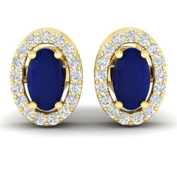 1.02 ctw Sapphire & Micro Pave VS/SI Diamond Earrings 18k Yellow Gold - REF-24Y5X