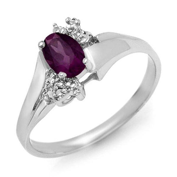 0.55 ctw Amethyst & Diamond Ring 10k White Gold - REF-11R2K