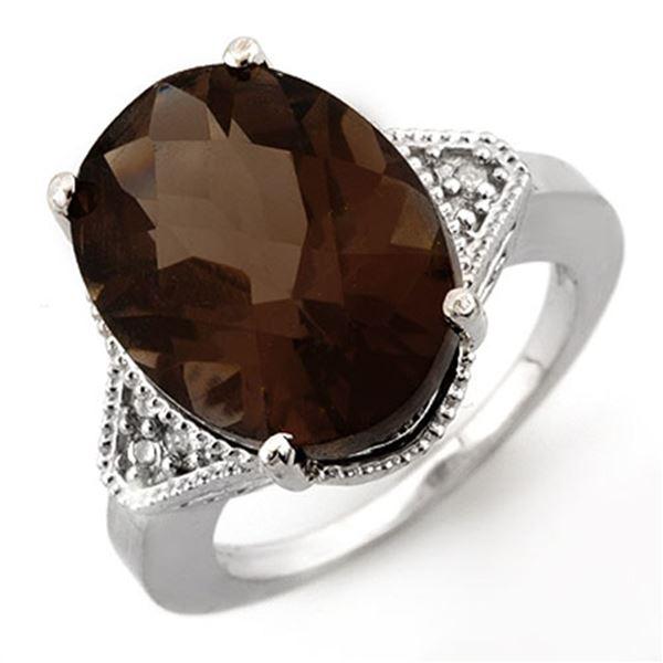 9.18 ctw Smoky Topaz & Diamond Ring 14k White Gold - REF-39X2A