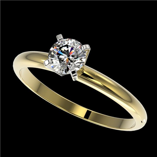 0.54 ctw Certified Quality Diamond Engagment Ring 10k Yellow Gold - REF-40R8K