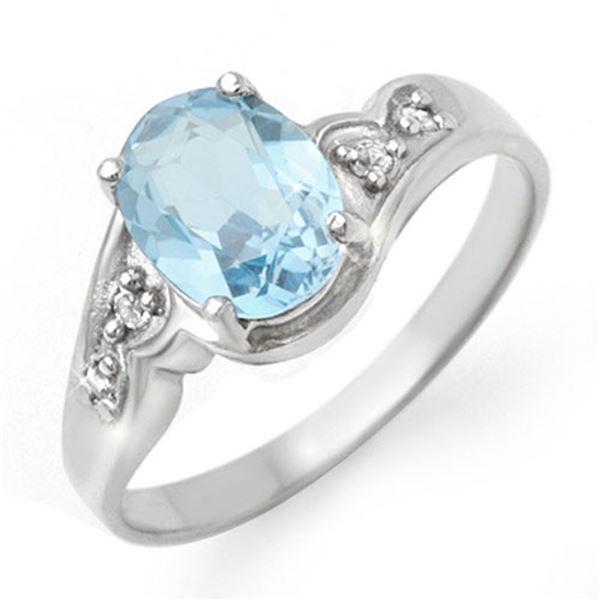 1.26 ctw Blue Topaz & Diamond Ring 18k White Gold - REF-23R9K