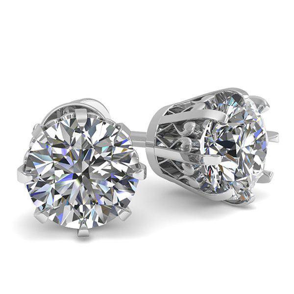 1.03 ctw VS/SI Diamond Stud Earrings Vintage 18k White Gold - REF-147N2F