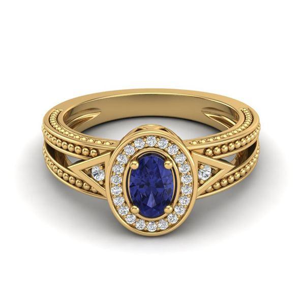 0.58 ctw Tanzanite & VS/SI Diamond Designer Halo Ring 10k Yellow Gold - REF-23Y2X