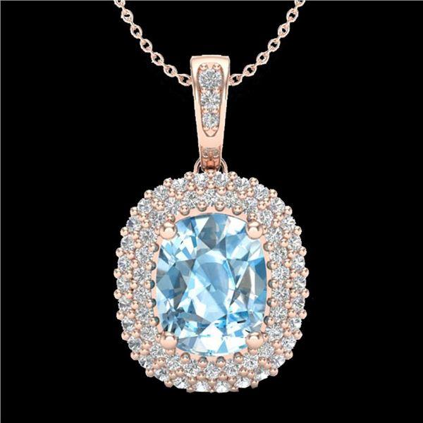 3 ctw Blue Topaz & Micro Pave VS/SI Diamond Necklace 10k Rose Gold - REF-50X8A