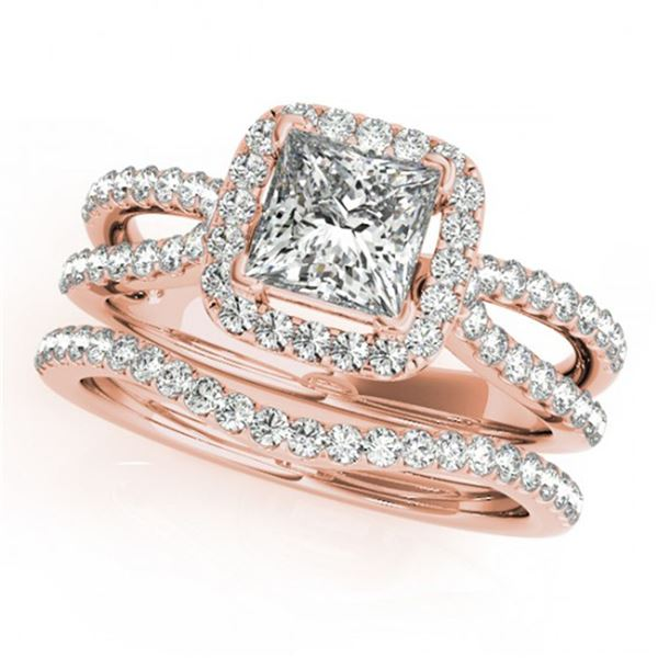 1.02 ctw Certified VS/SI Princess Diamond 2pc Set Halo 14k Rose Gold - REF-118G6W