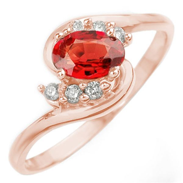 0.70 ctw Red Sapphire & Diamond Ring 14k Rose Gold - REF-16A8N