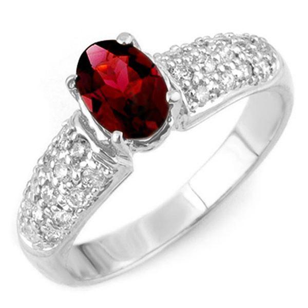 1.50 ctw Pink Tourmaline & Diamond Ring 18k White Gold - REF-55X8A