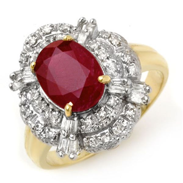 2.84 ctw Ruby & Diamond Ring 14k Yellow Gold - REF-55M2G