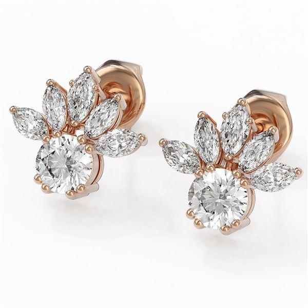 1.75 ctw Diamond Designer Earrings 18K Rose Gold - REF-168G8W
