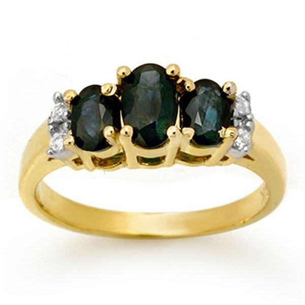 1.33 ctw Blue Sapphire & Diamond Ring 14k Yellow Gold - REF-25H9R
