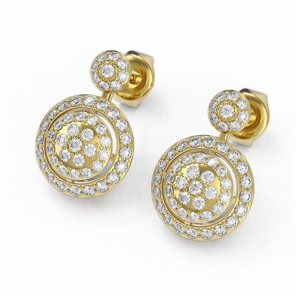 2 ctw Diamond Designer Earrings 18K Yellow Gold - REF-152H4R