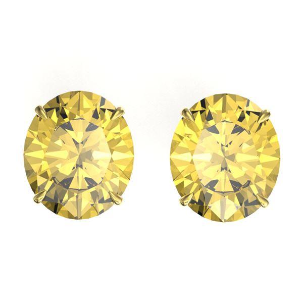 18 ctw Citrine Designer Stud Earrings 18k Yellow Gold - REF-53N3F