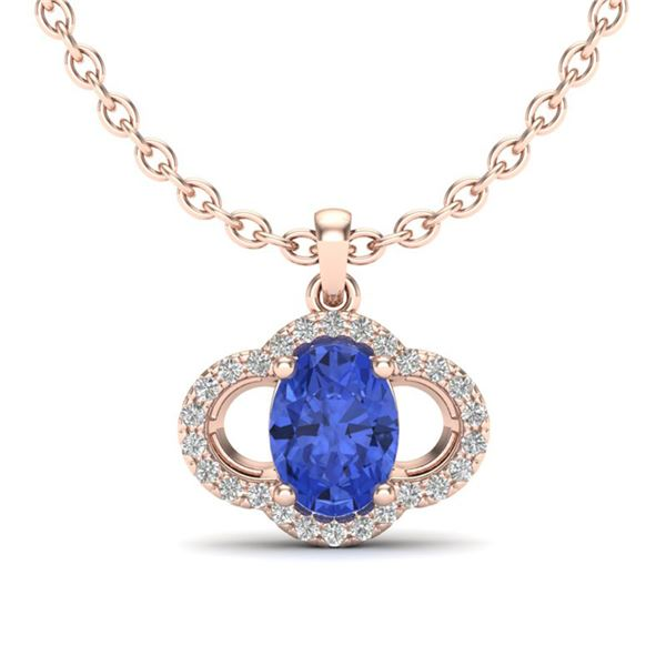 1.75 ctw Tanzanite & Micro Pave VS/SI Diamond Necklace 10k Rose Gold - REF-39G5W