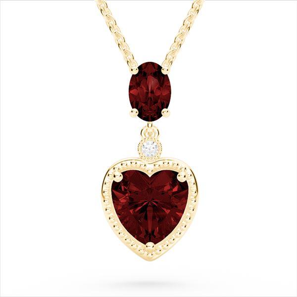 4 ctw Garnet & VS/SI Diamond Designer Heart Necklace 10k Yellow Gold - REF-21X3A