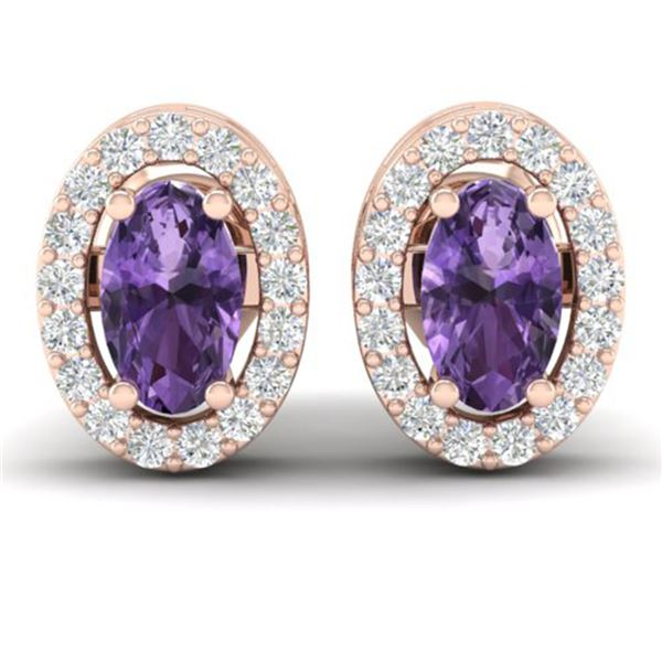 0.75 ctw Amethyst & Micro Pave Earrings Halo 14k Rose Gold - REF-25R9K
