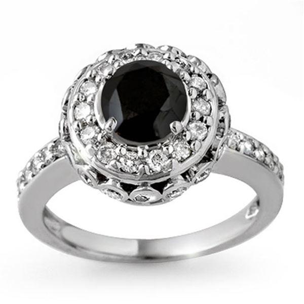 2.64 ctw VS Certified Black & White Diamond Ring 14k White Gold - REF-127M3G