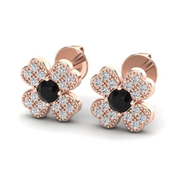 0.54 ctw Micro Pave VS/SI Diamond Certified Earrings 14k Rose Gold - REF-30N2F