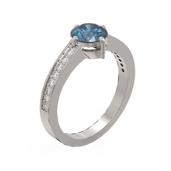 1.25 ctw Intense Blue Diamond Ring 18K White Gold - REF-199W6H