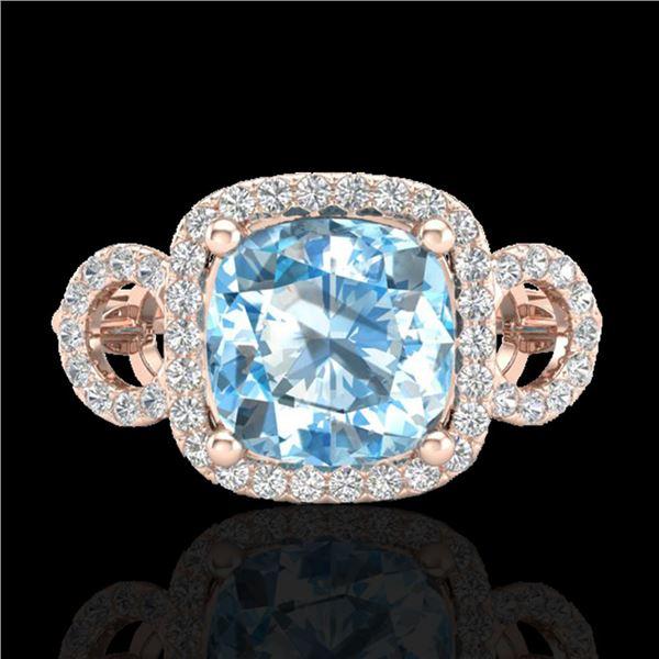 3.75 ctw TOPAZ & Micro VS/SI Diamond Certified Ring 14k Rose Gold - REF-42K6Y