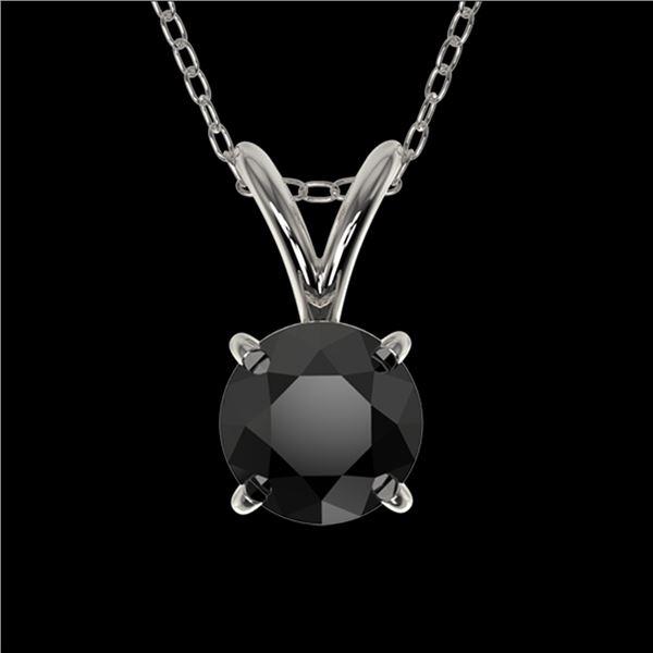 0.50 ctw Fancy Black Diamond Solitaire Necklace 10k White Gold - REF-18K4Y