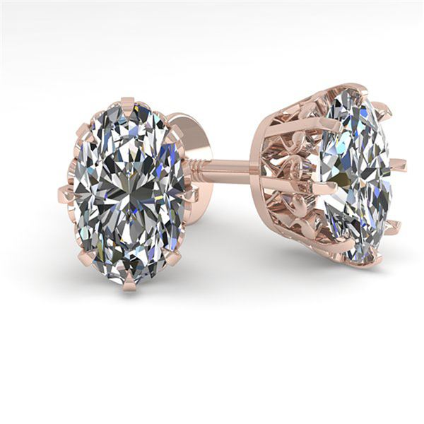 1.0 ctw VS/SI Oval Cut Diamond Stud Solitaire Earrings 18k Rose Gold - REF-147N2F