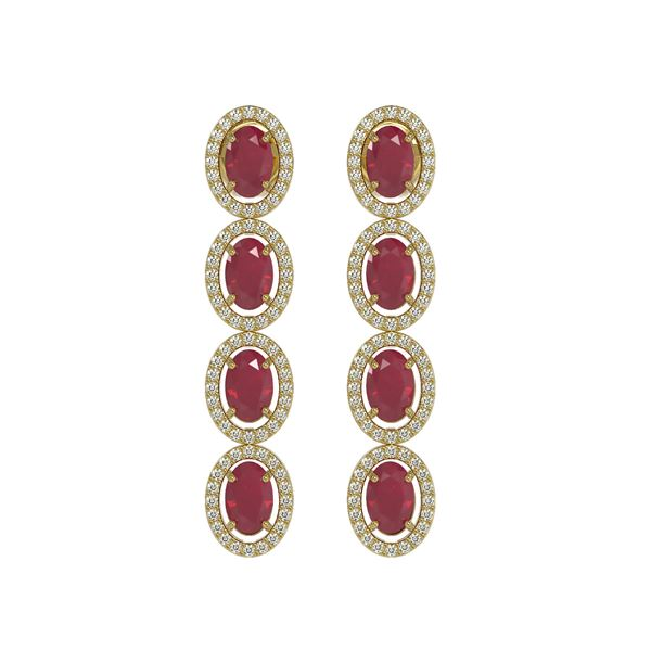 6.47 ctw Ruby & Diamond Micro Pave Halo Earrings 10k Yellow Gold - REF-143X6A