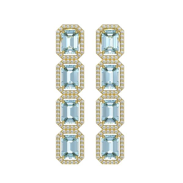 11.13 ctw Sky Topaz & Diamond Micro Pave Halo Earrings 10k Yellow Gold - REF-147N5F