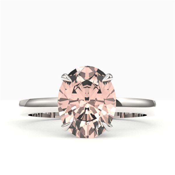 2.75 ctw Morganite Designer Ring 18k White Gold - REF-39M5G