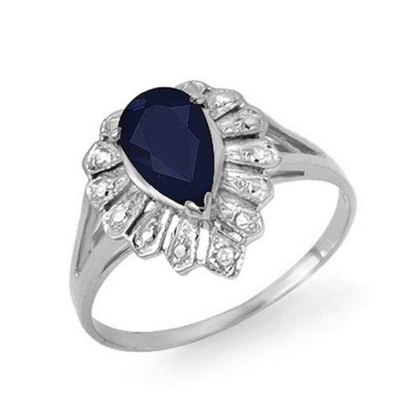 1.12 ctw Blue Sapphire & Diamond Ring 18k White Gold - REF-19X4A