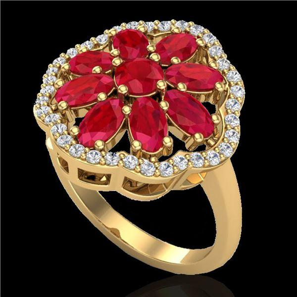 4 ctw Ruby & VS/SI Diamond Certified Cluster Designer Ring 10k Yellow Gold - REF-49N3F
