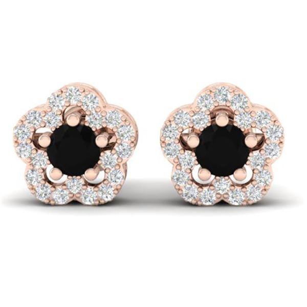 0.65 ctw Micro Pave VS/SI Diamond Certified Earrings 10k Rose Gold - REF-21Y4X