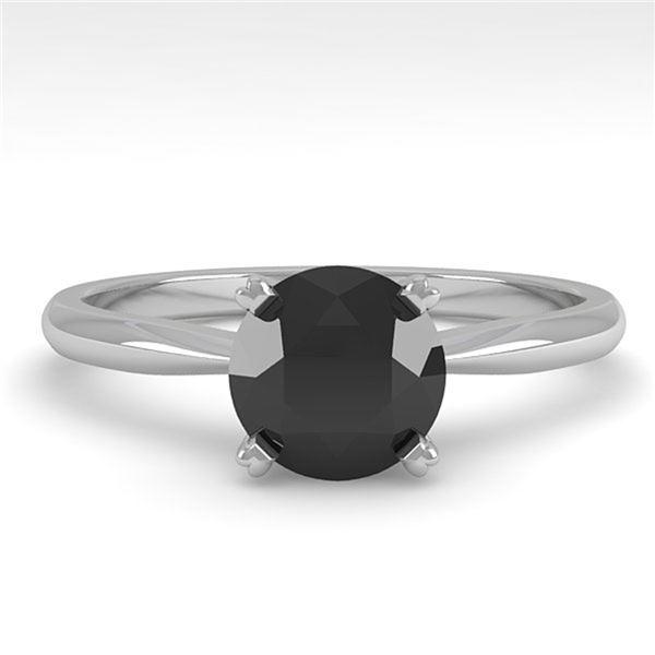 1.0 ctw Black Diamond Engagment Designer Ring 14k White Gold - REF-26K4Y