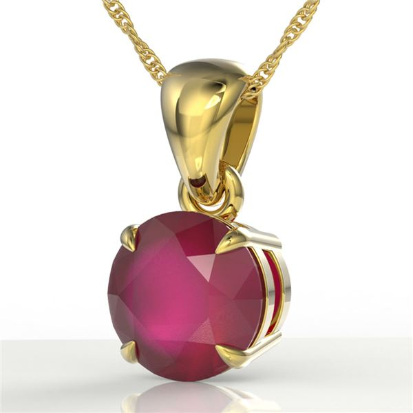 2 ctw Ruby Designer Solitaire Necklace 18k Yellow Gold - REF-34M3G