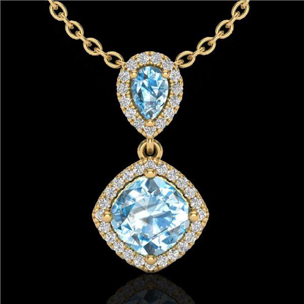 3.50 ctw Sky Blue Topaz & Micro VS/SI Diamond Necklace 10k Yellow Gold - REF-33W8H