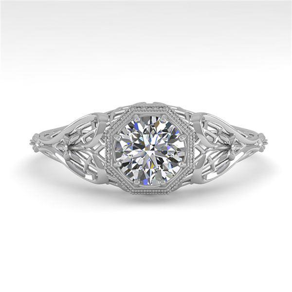 0.50 ctw VS/SI Diamond Engagment Ring Art Deco 18k White Gold - REF-104M8G