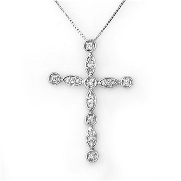 0.45 ctw Certified VS/SI Diamond Necklace 18k White Gold - REF-49X5A