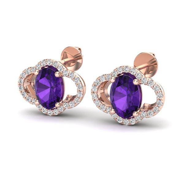 4 ctw Amethyst & Micro Pave VS/SI Diamond Earrings 10k Rose Gold - REF-45M3G