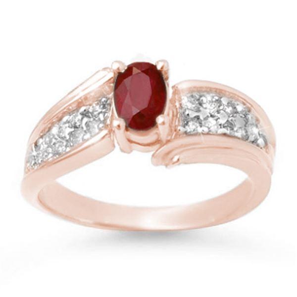1.43 ctw Ruby & Diamond Ring 14k Rose Gold - REF-44R2K