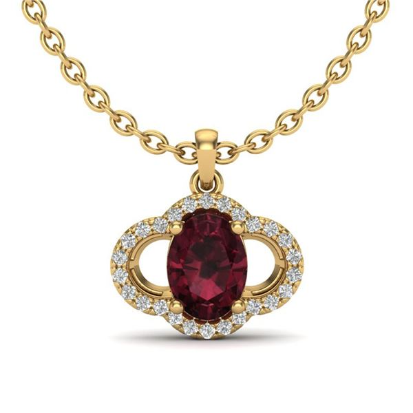 2 ctw Garnet & Micro Pave VS/SI Diamond Certified Necklace 10k Yellow Gold - REF-24H5R