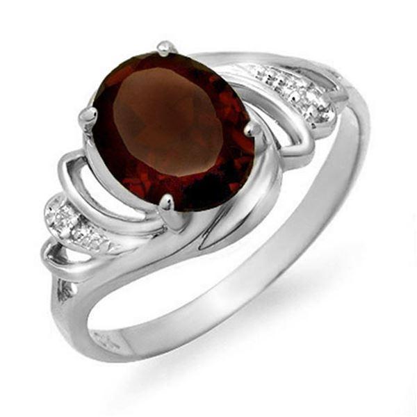 2.03 ctw Garnet & Diamond Ring 18k White Gold - REF-23R8K