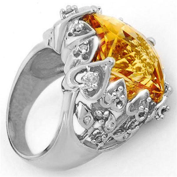 11.40 ctw Citrine & Diamond Ring 10k White Gold - REF-80M9G