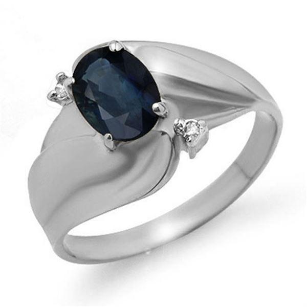 1.08 ctw Blue Sapphire & Diamond Ring 14k White Gold - REF-19W3H