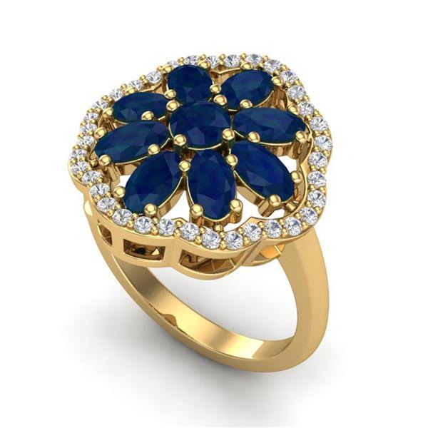 4 ctw Sapphire & VS/SI Diamond Cluster Designer Ring 10k Yellow Gold - REF-49R3K
